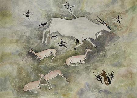 Rock art - Figures & Buck - Walter Battiss