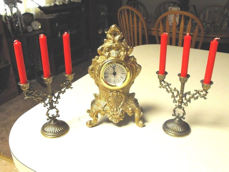 Vintage Ormalu Rocco Uronio small Mantel Clock and Candelabra set Gilt Bronze  #victorian #Uronio