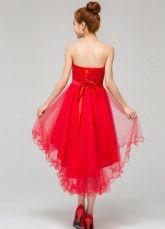 Robe élégante de cocktail rouge A-ligne en satin bustier avec noeud asymétrique
