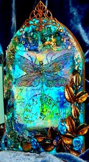 Dragon fly glass art Twist: reflection and similar colors object not natural place.