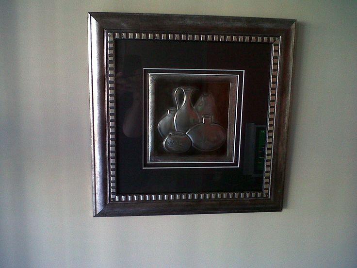 pewtered Zulu pots - framed
