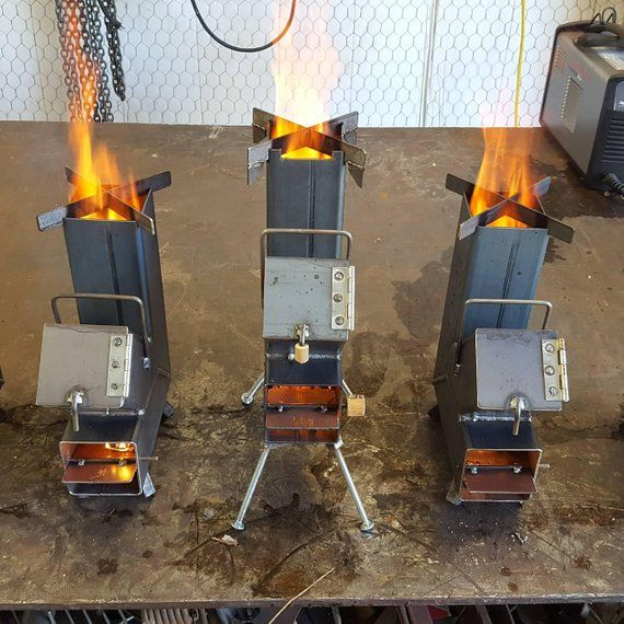 Rocket Stove Self Feeding With Airflow Valve And Wok Grill Top