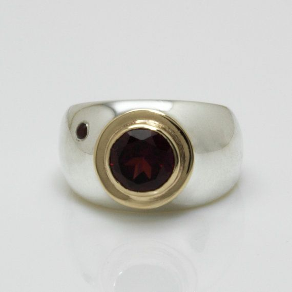 Silver gold cocktail ring gold silver ring red by SigalGerson
