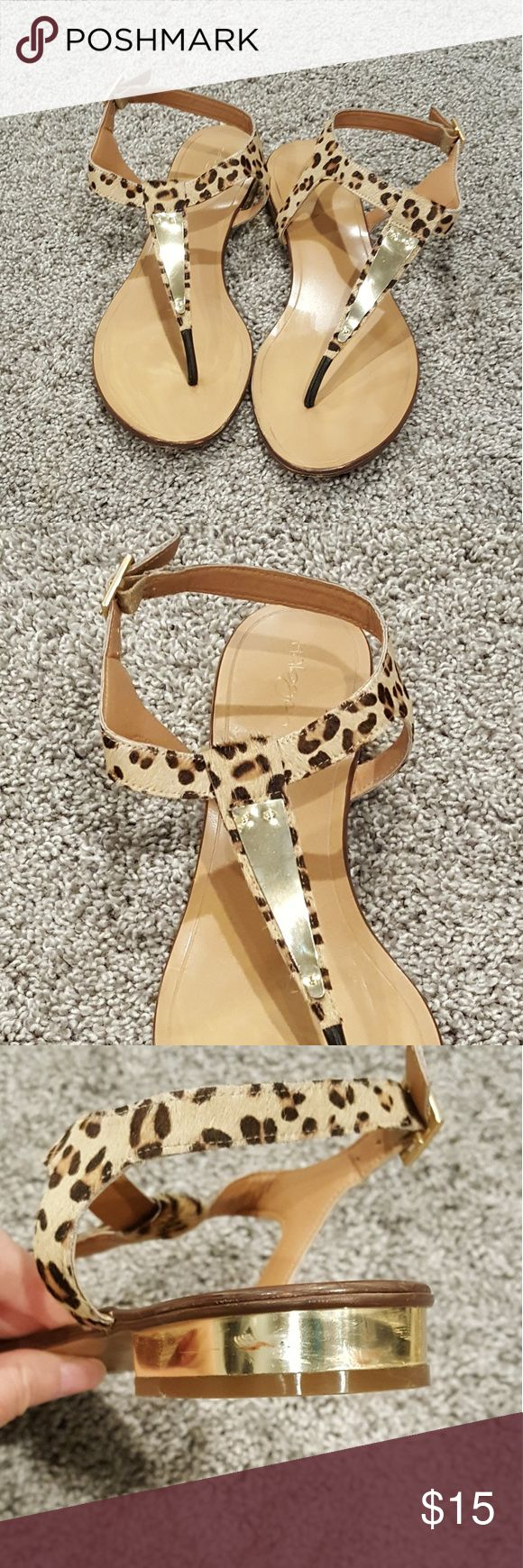 Halogen Leopard Print Sandals Chic sandals by Nordstrom exclusive brand Halogen. Calf-hair fur in a fun leopard print. T-strap and back sole feature gold tone metal details. Buckle ankle strap.   Worn only a few times (wear shown on ball part of the sole). Also has red marks on the right heel (see pic 3).  Priced accordingly. Halogen Shoes Sandals