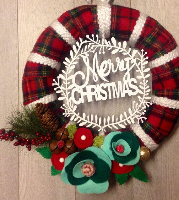 Modern Christmas Wreath Christmas Yarn Wreath by Lizzyandlois