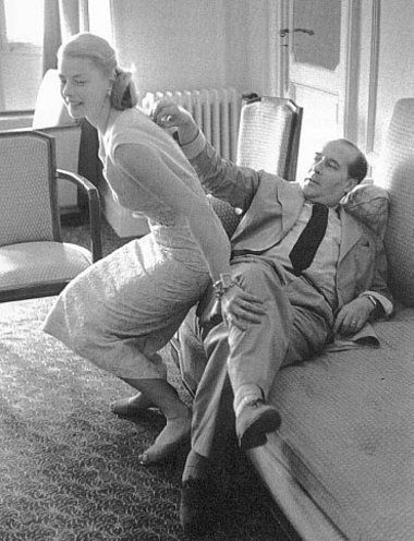 Ingrid Bergman and her husband Roberto Rosselini, Hotel room in Cannes, France, by David Seymour, 1956