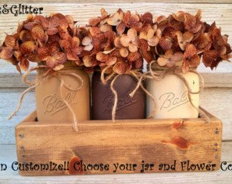 Rustic Planter Box With Mason Jars-Fall Table Centerpiece-Thanksgiving-Mason Jar Planter-Wood Planter Box-Rustic Centerpiece-Fall Decor