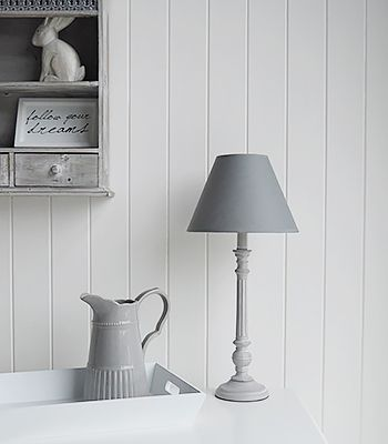 Attractive A Grey Lamp With Shade With Wooden Ribbed Base From The White Lighthouse  Furniture. A Lovely Bed Table Lamp Amazing Design