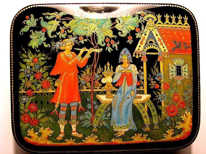 Palekh miniature (Russian: Палехская миниатюра) is a Russian folk handicraft of miniature painting, which is done with tempera paints on varnished articles made of papier-mâché (small boxes, cigarette and powder cases etc.).