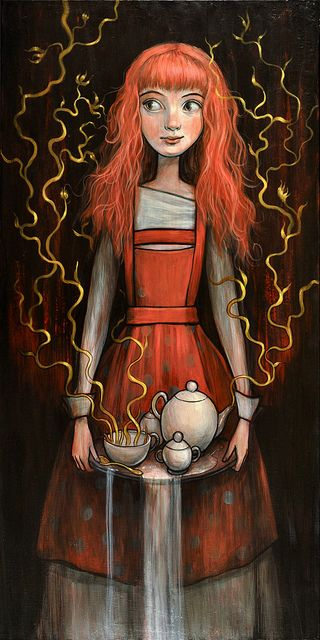 """Tea Service"" - I love her expression, hair, and what the artist did with the streams of steam :)"
