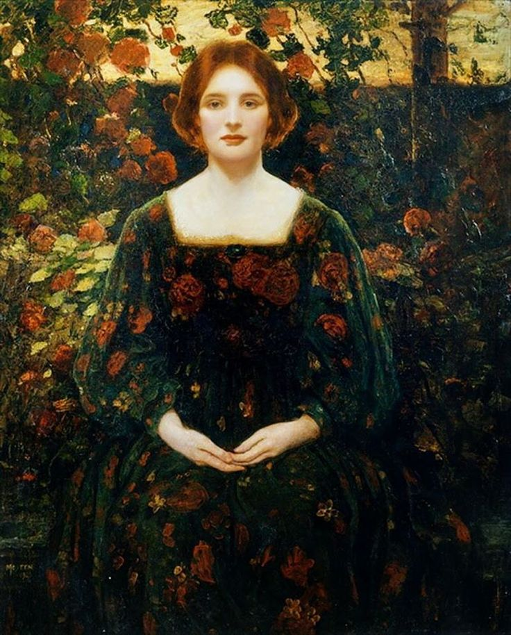"""Thomas Edwin Mostyn """"Womanhood"""". Interesting effect created by creating a pattern on the dress and carrying it into the background. It flattens the space but the strong contrast it creates with the flesh provides depth. Pretty striking effect. - Howard Lyon"""