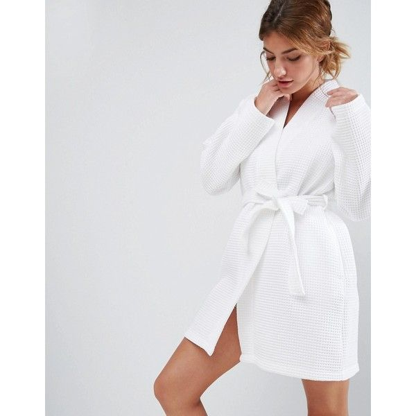 ASOS Waffle Hotel Robe In 100% Cotton (29 CHF) ❤ liked on Polyvore featuring intimates, robes, white, white waffle robe, cotton bathrobes, white bath robe, waffle bathrobe and cotton waffle robe