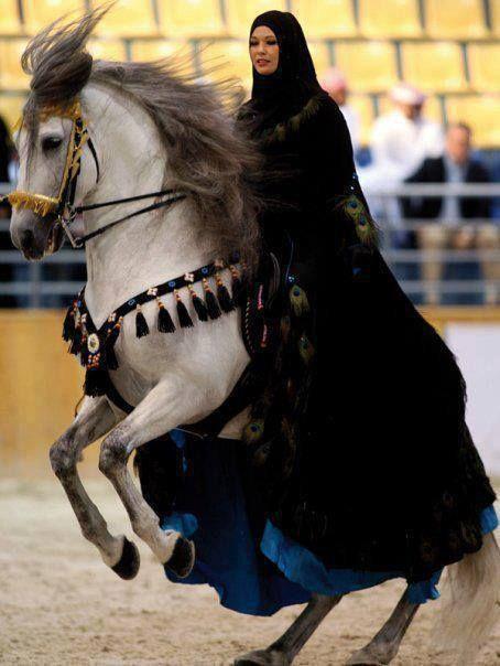 """La foto de arriba es un jinete """"vestido con un traje de una princesa árabe. Su semental árabe y ella estaban en el festival internacional 2008 del caballo árabe de Sharjah. Más de 200 caballos árabes y corredores de Emiratos Árabes Unidos, Qatar, Arabia Saudita, Omán, Bahrein y Kuwait participaron en este evento de tres días."""