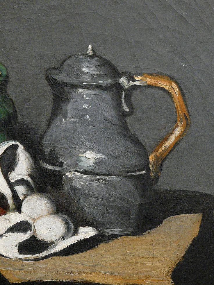"""CEZANNE,1867-69 - Pot vert et Bouilloire d'étain - Still Life with Green Jar and Pewter Kettle (Orsay) - Detail 6 - TAGS : details détail détails detalles painting paintings peinture peintures 19th 19e """"peinture 19e"""" """"19th-century paintings"""" paintings """"Still life"""" """"Nature morte"""" Orsay """"Nature morte"""" œufs eggs oignons onions nappe """"nappe blanche"""" """"white cloth"""" chiffon cloth gris grey Green Jar Pewter Kettle couteau knife vegetables vegetable légumes fruit fruits food pomme apple table"""