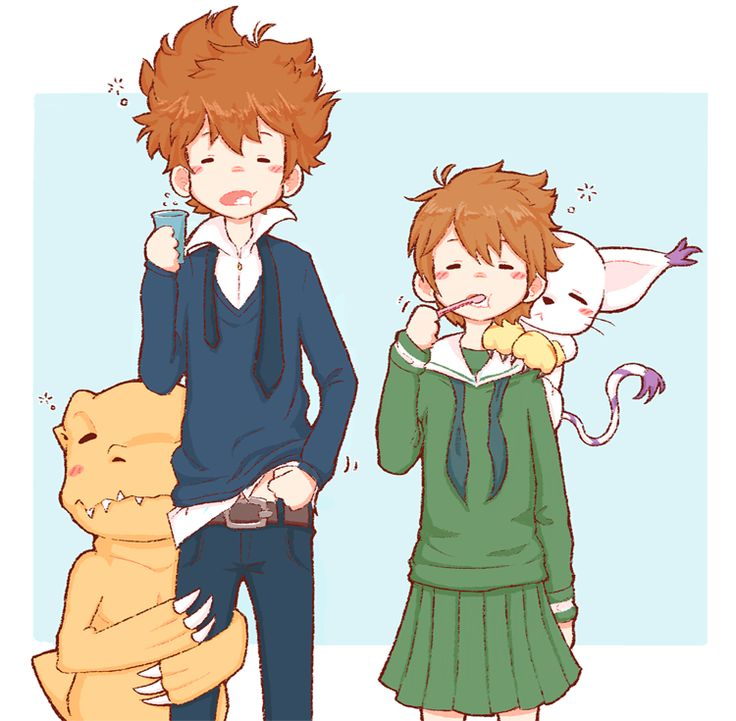 Kari, Agumon y Tai // Digimon