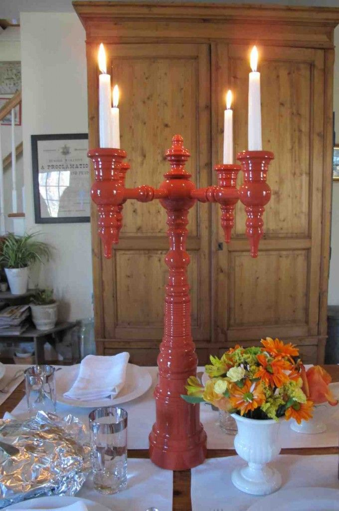 Thanksgiving With Dunes And Duchess And A Four Arm Candelabra In Italian  Red. Design Ideas