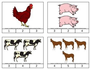 Farm Animals Count & Clip Cards *Common Core Aligned*
