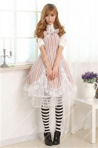 Coffee Stand Collar Long Sleeves Lace Hem Sweet Lolita Dress