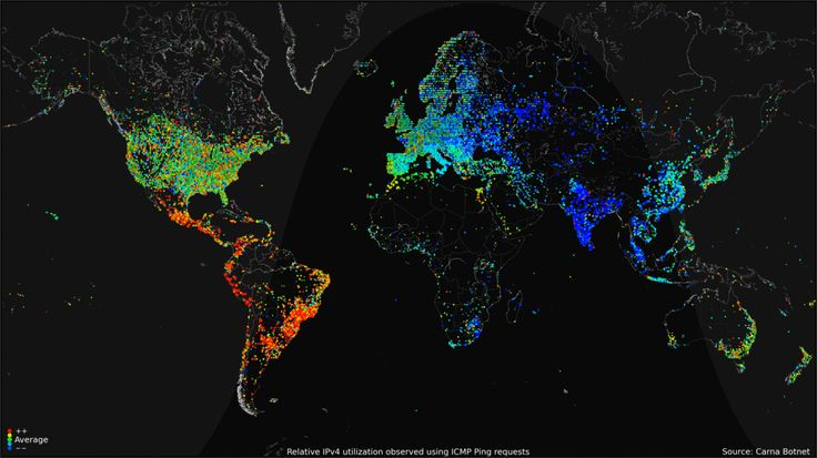 Animated internet activity map.