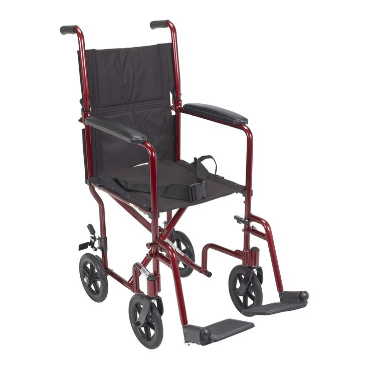Drive Medical Lightweight Transport Wheelchair, 17 Seat, Red