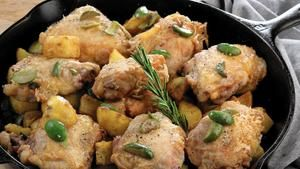 "Chicken thighs with potatoes and olives from ""Lidia's Mastering the Art of Italian Cuisine"" by Lidia Bastianich and Tanya Bastianich Manuali. (Michael Tercha / Chicago Tribune)"