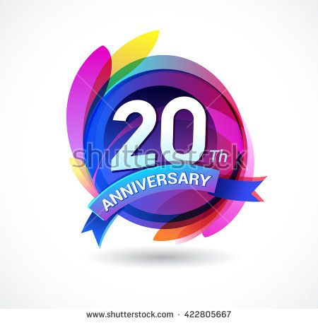 20th anniversary - abstract background with icons and ribbon