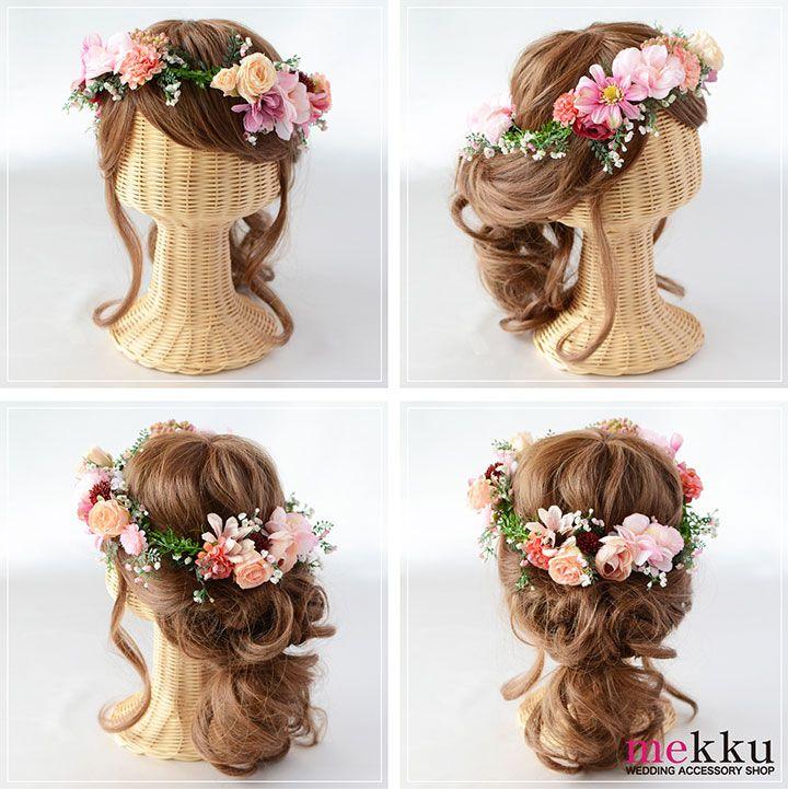 ウェディングアクセサリーショップmekkuの花冠のマネキン着用画像