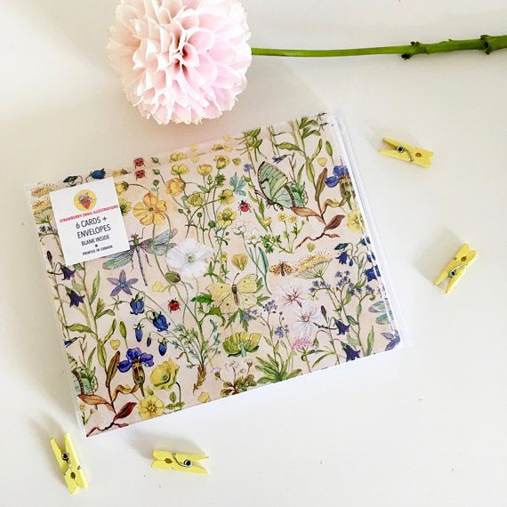 Box Set Note Cards  Watercolor Buttercups & Wings  set of
