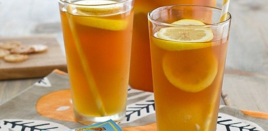 Iced Tea with Honey Lemon Ginger Ice Cubes