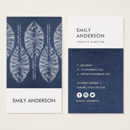 Organic Leaf Pattern Indigo Blue Tie Dye Batik Business Card Blue