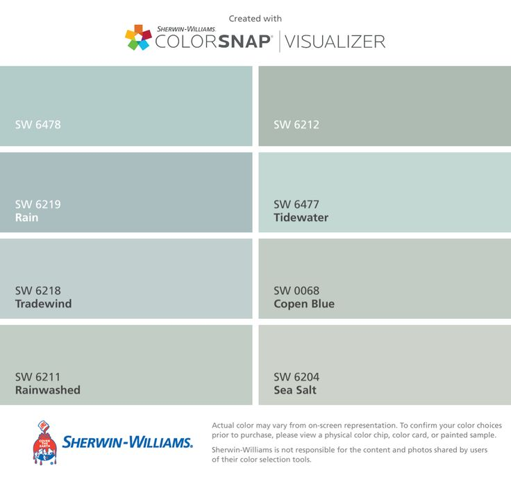 I found these colors for the porch floor with ColorSnap® Visualizer for iPhone by Sherwin-Williams: Watery (SW 6478), Rain (SW 6219), Tradewind (SW 6218), Rainwashed (SW 6211), Quietude (SW 6212), Tidewater (SW 6477), Copen Blue (SW 0068), Sea Salt (SW 6204).