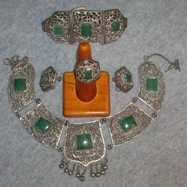 Антикварные старинные китайские экспортные серебро филигрань нефрит ожерелье серьги кольцо бандаж | Украшения и часы, Винтажные и антикварные украшения, Винтажные этнические, региональные и племенные украшения | eBay!