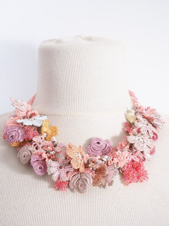 Crochet necklace,Crochet lace, Multicolor Necklace,Turkish Oya, lilac Necklace,Beads necklace, Crochet oya necklace 139