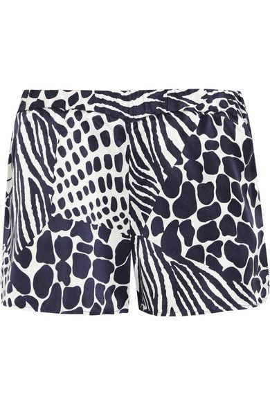 Equipment - Landis Animal-print Washed-silk Shorts - Midnight blue - medium