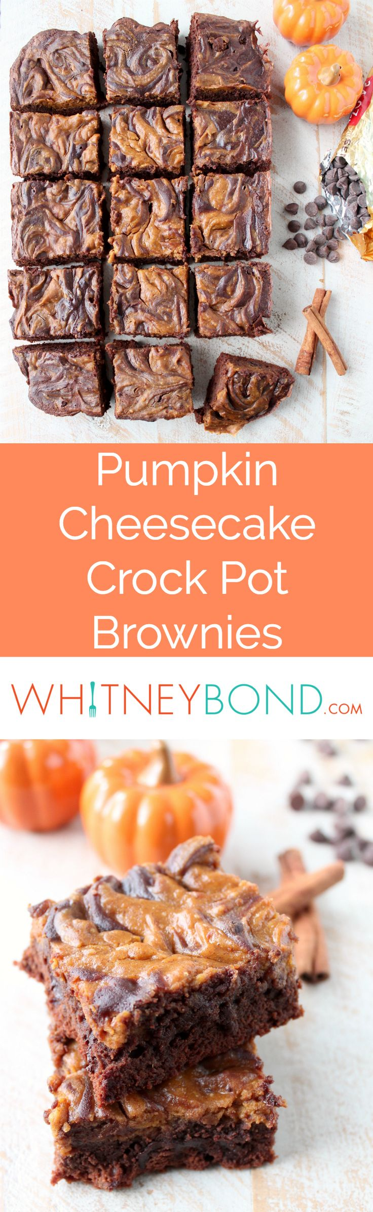 Pumpkin Cheesecake Swirled Crock Pot Brownies, a totally delicious and easy dessert for fall! @worldmarket is the perfect place to pick up cinnamon, nutmeg and Ghirardelli chocolate chips and cocoa for this recipe!
