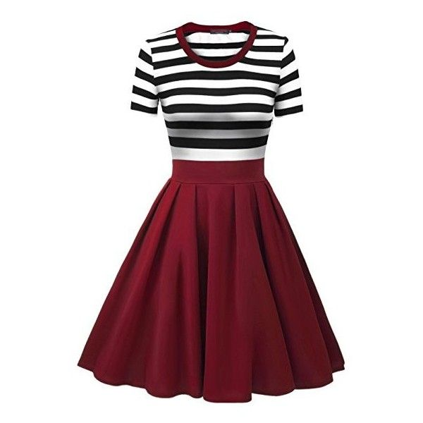 VESSOS Women's Vintage Stripes Patchwok A-line Short Sleeve Cocktail... ($59) ❤ liked on Polyvore featuring dresses, short-sleeve dresses, short sleeve dress, red short sleeve dress, striped cocktail dress and red stripe dress