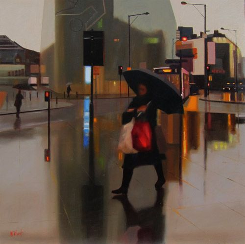 Michael John Ashcroft Girl With a Red Bag Oil on board, 61cm x 61cm