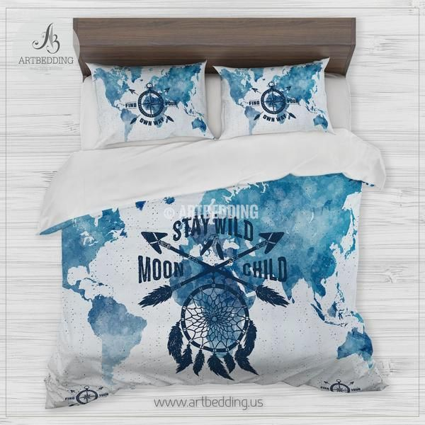 Boho Watercolor world map with dreamcatcher bedding, Dreamcatcher quote blue bedding set, World map duvet cover set, Bohemian Stay Wild comforter set, Dorm bedding