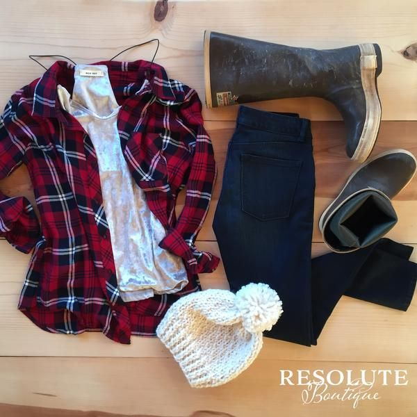 Xtra Tuf Style! Flannel, skinny jeans, beanie, Xtratufs! Alaska style for Fall and Winter.