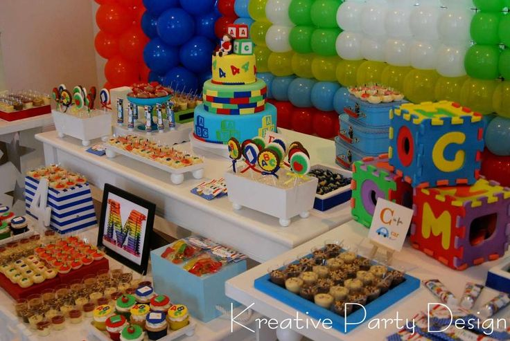 Colorful dessert table at an ABC's birthday party! See more party planning ideas at CatchMyParty.com!