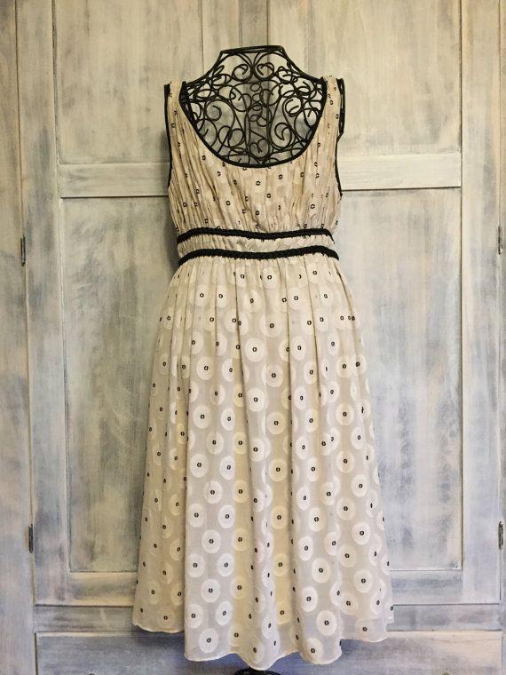 Adrianna Papell Vintage White Dress Black by VintageNerdBoutique