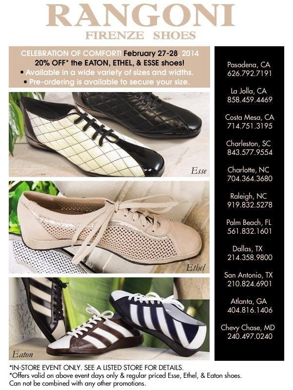 It's the CELEBRATION OF COMFORT!!!  20% off the Eaton, Ethel ,& Esse shoes