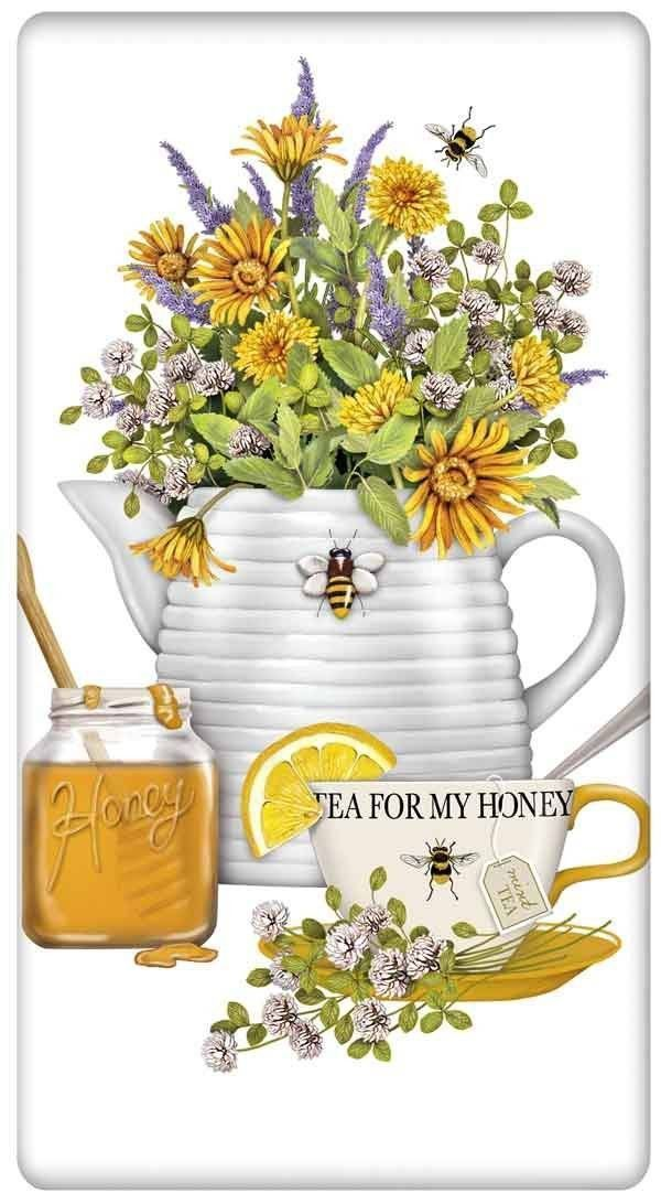 Honey, Tea and Flowers 100% Cotton Flour Sack Dish Towel Tea Towel
