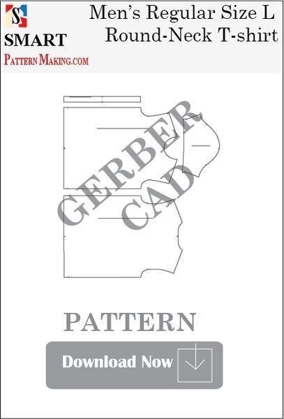 Gerber/CAD Men's Round Neck T-Shirt Sewing Pattern Download
