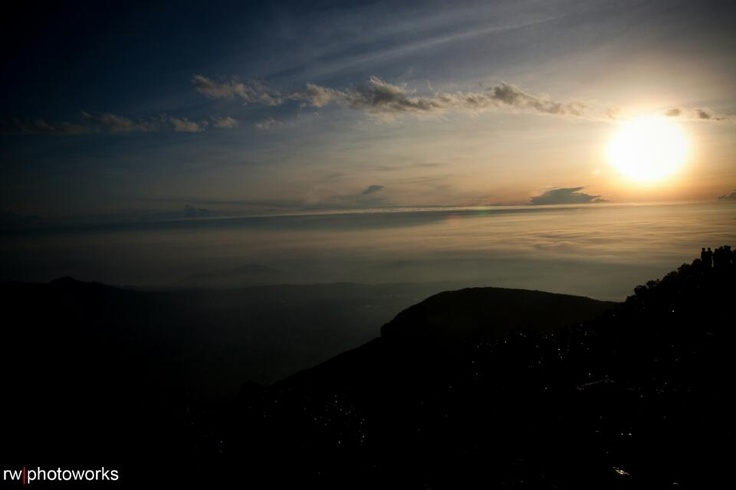 Morning view from mt.gede indonesia