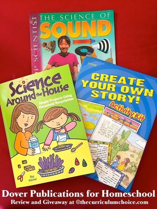 ~Don't miss the giveaway at the end!! This month we've found that Dover Publications adds the fun to homeschool science and writing! Would your children like to make a bouncy ball? Maybe build writing skills (and laugh!) with Create Your Own Story? Let me tell you more...