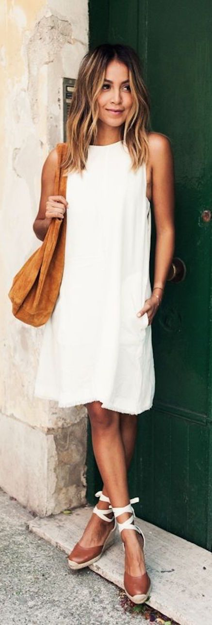Leather purse & Espadrilles #shoes white summer #dress