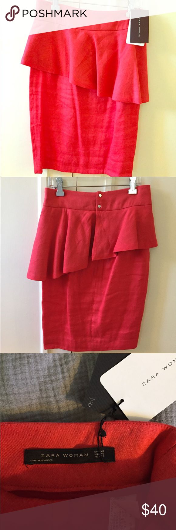 """Zara red ruffle skirt-new with tag Red linen skirt, about 21"""" length Zara Skirts Midi"""