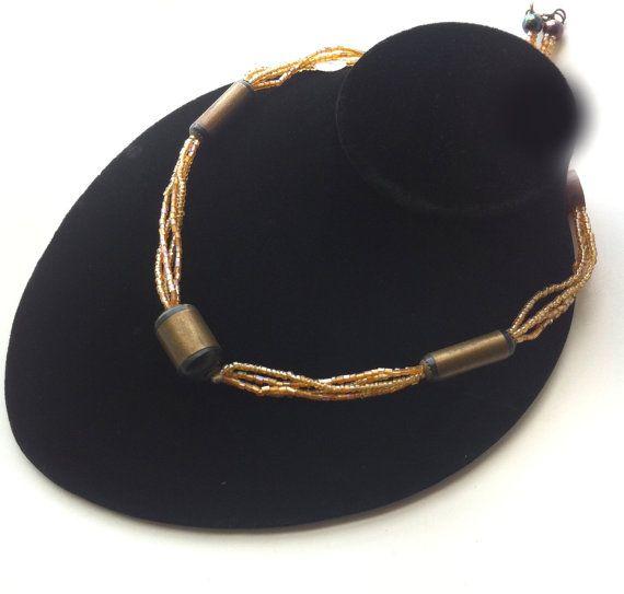 Gouden ketting Beaded Brown ketting koord door taneesijewelry