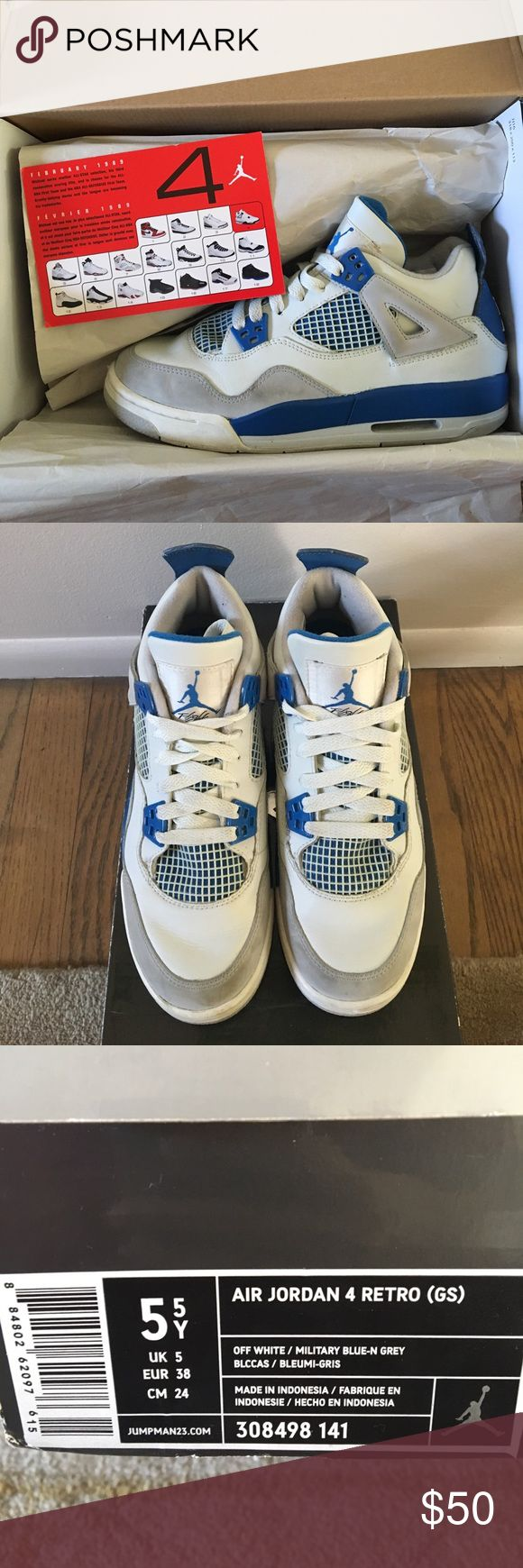 Air Jordan Retro 4 Military (2006; USED) AJR4 Military from the 2006 release. Good condition; minor scuffs & creased. Size 5Y / women 7 (USA). **currently in process of deep cleaning Nike Shoes Sneakers